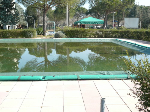 piscina con telo zanzare