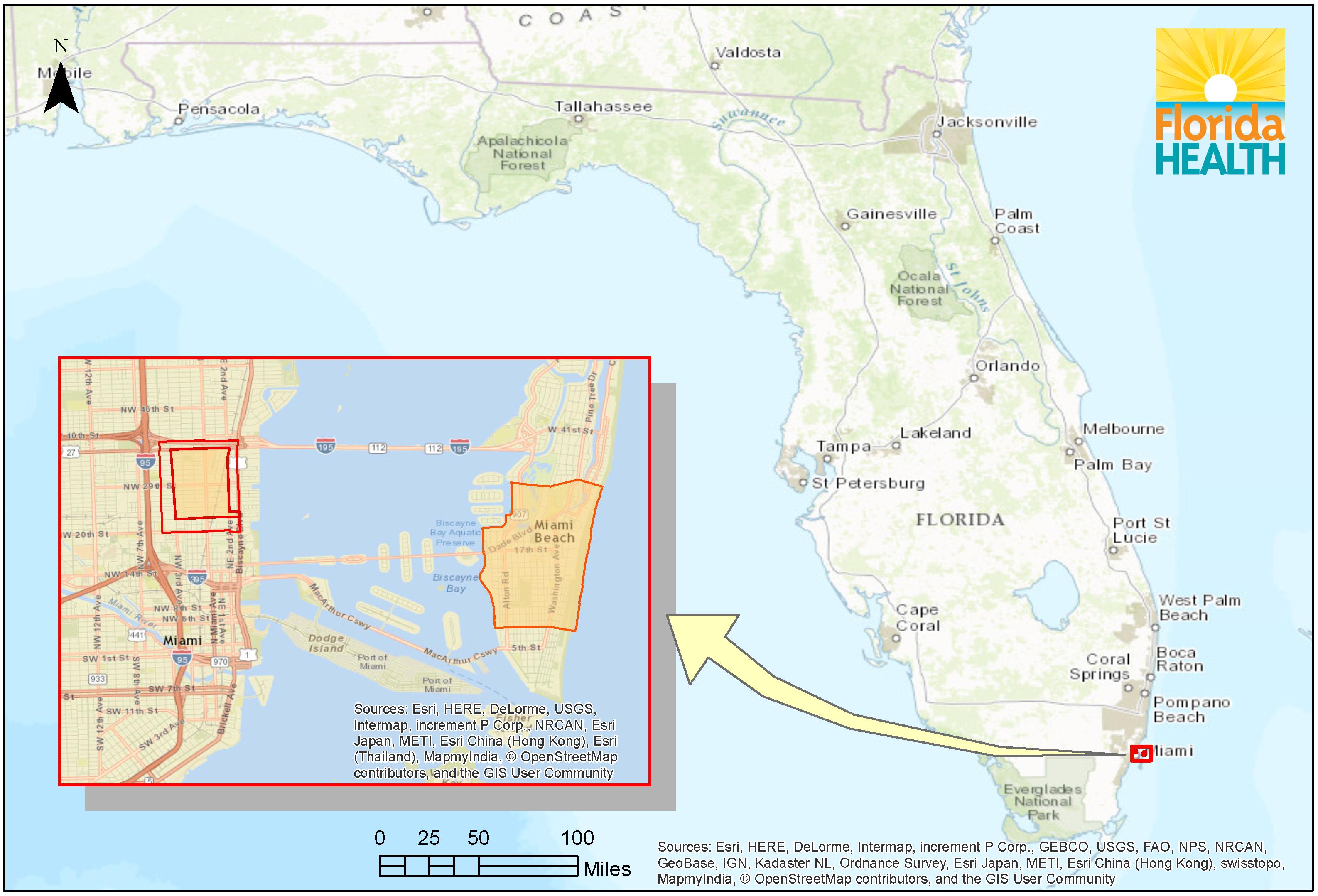 distribuzione casi di Zika in Florida